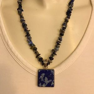 Handmade Blue Gray Reversible Marble Like Necklace